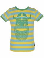 Stoer yellow/pool blue gestreept t-shirt met Erik de viking van het Deense merk Danefae.  De kinderkleding van Danefae is Oekotex gecertificeerd en dus vrij van schadelijke stoffen.