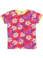 Rood t-shirt met witte bloemen en roze vlinders van het Deense merk Smafolk. Het t-shirt is gemaakt van 50% Oekotex gecertificeerd katoen, 45% modal en 5% elastane.