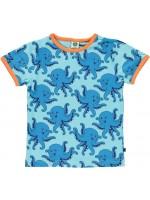 Lichtblauw t-shirt met octopussen van het Deense merk Smafolk. Het t-shirt heeft een