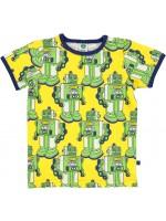 Geel t-shirt met robots van het Deense merk Smafolk. Het t-shirt heeft een navy bies en is gemaakt van 50% katoen, 45% modal en 5% elastane.