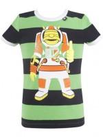 Groen/zwart gestreept t-shirt met astro Erik van het Deense merk Danefae.   De kinderkleding van Danefae is Oekotex gecertificeerd en dus vrij van schadelijke stoffen.