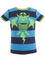 Blauw/navy gestreept t-shirt met groene Erik de viking van het Deense merk Danefae.   De kinderkleding van Danefae is Oekotex gecertificeerd en dus vrij van schadelijke stoffen.