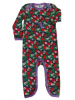 Toffe jumpsuit met aardbeien van het Deense merk Smafolk. De jumpsuit heeft een paarse bies.  De jumpsuit van Smafolk is gemaakt van 100% katoen. De kleding van Smafolk is gemaakt van Oekotex gecertificeerd katoen, wel zo prettig.