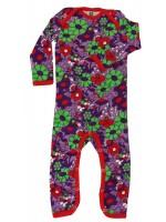 Hippe paarse jumpsuit met bloemen van het Deense merk Smafolk. De jumpsuit heeft rode biezen.  De jumpsuits van Smafolk zijn gemaakt van 100% katoen.