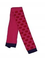 Hippe roze legging met rode appels en paarse bies van het Deense merk Smafolk.   De kleding van Smafolk voldoet aan de Oekotex 100 standard, wel zo prettig!