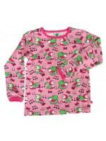 Hippe roze longsleeve met vogels van het Deense merk Smafolk. De longsleeve heeft roze biezen.  De longsleeves van Smafolk zijn gemaakt van 50% katoen, 45% modal en 5% elastane. De kleding van Smafolk is gemaakt van Oekotex gecertificeerd katoen, wel zo p
