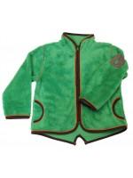 Gaaf groen fleece vest van het Deense merk Smafolk. Het vest sluit met een rits en heeft een bruin gele bies.  De longsleeves van Smafolk zijn gemaakt van 50% katoen, 45% modal en 5% elastane.