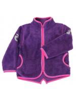Hip paars fleece vest met roze biezen van het Deense merk Smafolk.