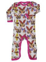 Hippe off-white jumpsuit met vlinders van het Deense merk Smafolk. De jumpsuit heeft een roze bies.  De kleding van Smafolk is gemaakt van 100% katoen en is Oekotex 100 gecertificeerd, wel zo fijn!