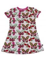 Hippe off-white jurk met vlinders van het Deense merk Smafolk. Het jurk heeft een roze bies.  De kleding van Smafolk is gemaakt van 50% katoen, 45% modal en 5% elastane en is Oekotex 100 gecertificeerd, wel zo fijn!