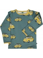 Smafolk longsleeve blauw met gele auto's