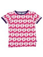 Hip roze t-shirt met appels van het Deense merk Smafolk. Het t-shirt heeft een paarse bies.  De kleding van Smafolk is gemaakt van 50% katoen, 45% modal en 5% elastane en is Oekotex 100 gecertificeerd, wel zo fijn!