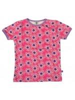 Tof roze t-shirt met bloemen van het Deense merk Smafolk. Het t-shirt heeft een lila bies.  De kleding van Smafolk is gemaakt van 50% katoen, 45% modal en 5% elastane en is Oekotex 100 gecertificeerd, wel zo fijn!