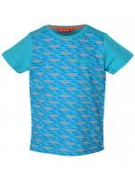 Turquoise shirt met blauwe en oranje racewagens van het Belgische merk Someone. Het t-shirt heeft effen mouwen en een zakje op de borst.