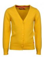 Hip oker vest van het Belgische merk Someone. Op de knoopjes zit een klein strikje.