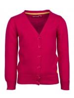 Hip roze vest van het Belgische merk Someone. Op de knoopjes zit een klein strikje.