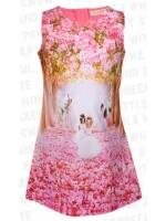 Roze jurk met bloemen en prinsessen  van het Belgische merk Someone.
