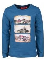 Blauwe longsleeve met motofietsen van het Belgische merk Someone.