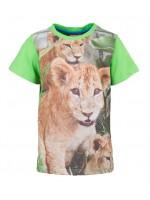 T-shirt met leeuw van het Belgische merk Someone. Het t-shirt heeft groene mouwen en een groene achterkant.
