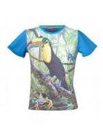 T-shirt met toucan met zonnebril van het Belgische merk Someone. Het t-shirt heeft blauwe mouwen en een blauwe achterkant.