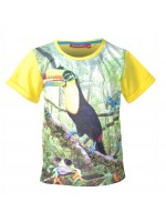 T-shirt met toucan met zonnebril van het Belgische merk Someone. Het t-shirt heeft gele mouwen en een gele achterkant.