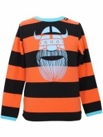 Toffe oranje/zwart gestreepte longsleeve met een lichtblauwe Erik de viking van het Deense merk Danefae. Het shirt heeft rode biezen.  De kinderkleding van Danefae is Oekotex gecertificeerd en dus vrij van schadelijke stoffen.