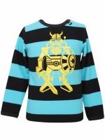 Toffe pool blue/zwart gestreepte longsleeve met een gele robot Erik de viking van het Deense merk Danefae.  De kinderkleding van Danefae is Oekotex gecertificeerd en dus vrij van schadelijke stoffen.
