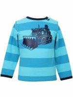 Stoere pool blue/vibrant blue gestreepte longsleeve met Erik de viking in een bulldozer van het Deense merk Danefae.  De kinderkleding van Danefae is Oekotex gecertificeerd en dus vrij van schadelijke stoffen.