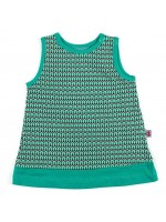 Mouwloze jurk met groene print van het Belgische merk Froy & Dind. De jurk is gemaakt van biologisch katoen.