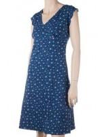 Blauwe jurk met print van het Belgische merk Froy & Dind.
