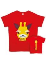 Rood t-shirt met giraf van het Franse merk Coq & Pâte en ontwerp van Mibo. Aan de achterkant van het shirt  staat de achterkant van de giraf.  De kleding en tassen van Coq & Pâte zijn gemaakt van GOTS gecertificeerd biologisch katoen.