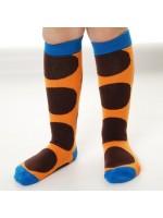 Toffe oranje kniekousen met bruine dots van het hippe merk Duns Sweden.  De sokken zijn gemaakt van GOTS gecertificeerd biologisch katoen. Dat is wel zo prettig!