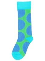 Gave groene kniekousen blauwe dots van het Zweedse merk Duns Sweden.   De kleding van Duns Sweden is gemaakt van biologisch katoen. Wel zo prettig, want de kleding is heerlijk zacht.