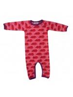 Roze jumpsuit met muisjes van het Deense merk  Mini Cirkus. De jumpsuit is gemaakt van biologisch katoen met een beetje elastane.