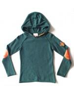 Toffe gebreide groen hoodie van het Nederlandse merk Unkk. De hoodie heeft een leuke pleisterapplicatie op de mouw.