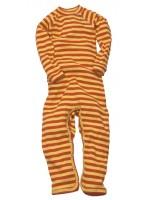 Hippe gestreepte jumpsuit met oranje/gele strepen van het Zweedse merk Moonkids.