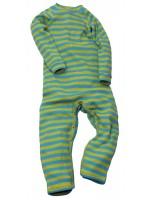 Hippe gestreepte jumpsuit met turquoise/lime strepen van het Zweedse merk Moonkids.