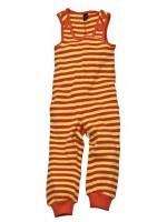 Vrolijke gestreepte playpants met oranje/gele strepen van het Zweedse merk Moonkids. Leuk met de bijpassende basebal romper met raglan mouw.