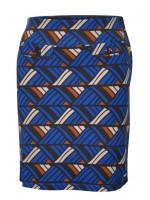 Blauwe rok met retroprint in bruin en lichtbruin van het Belgische merk Vila Joy. De rok heeft aan de voorkant (nep) klepzakken met een grote knoop.