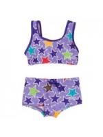 Paarse bikini met sterren van het Zweedse merk Villervalla.  Villervalla valt wat ruim.