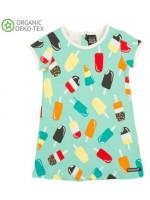 Aqua jurk met ijsjes van het Zweedse merk Villervalla.