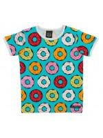 Blauw t-shirt met donuts van het Zweedse merk Villervalla.   Villervalla valt ruim.