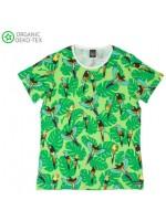 Groen shirt met papegaaien van het Zweedse merk Villervalla.