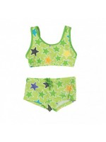 Groene bikini met sterren van het Zweedse merk Villervalla.  Villervalla valt wat ruim.
