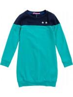 Waaaw jurk long sweater navy-turquoise