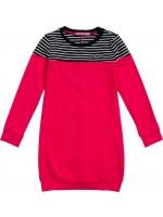 Waaaw jurk long sweater strepen-koraal