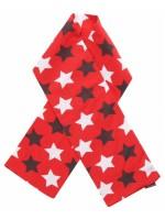 Hippe rode sjaal met sterren van het Zweedse merk Maxomorra.   De kinderkleding van Maxomorra is gemaakt van GOTS-gecertificeerd biologisch katoen.