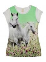 Wild t-shirt Marthy white horses green