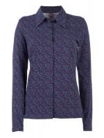 Donkerblauwe blouse met driekhoekjesprint van Belgische merk Who's That Girl.